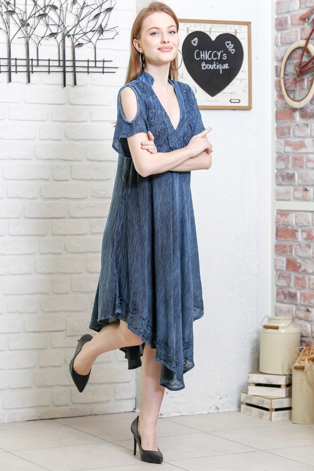 Chiccy Kadın Petrol Mavisi Batik Desenli Kısa Kol Dik Yaka Salaş Dokuma Elbise M10160000EL95153 1
