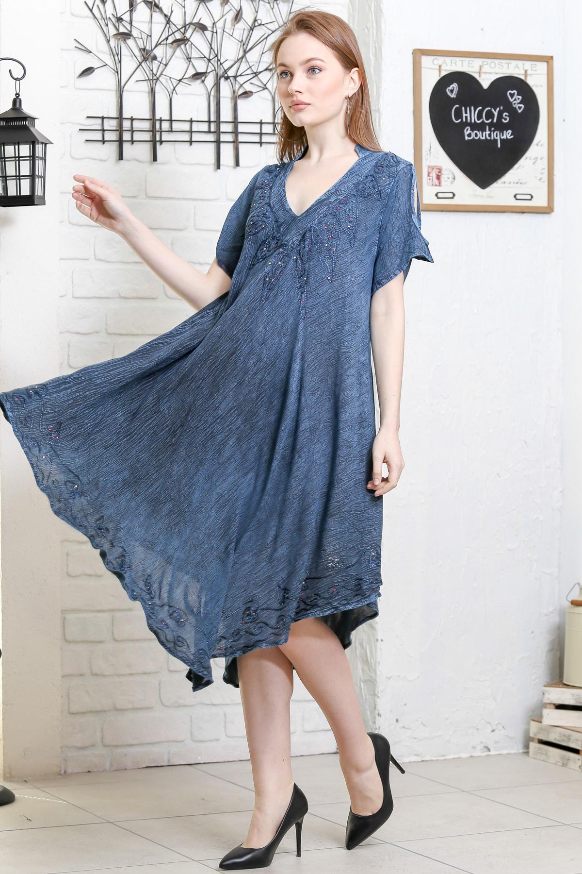 Chiccy Kadın Petrol Mavisi Batik Desenli Kısa Kol Dik Yaka Salaş Dokuma Elbise M10160000EL95153 2