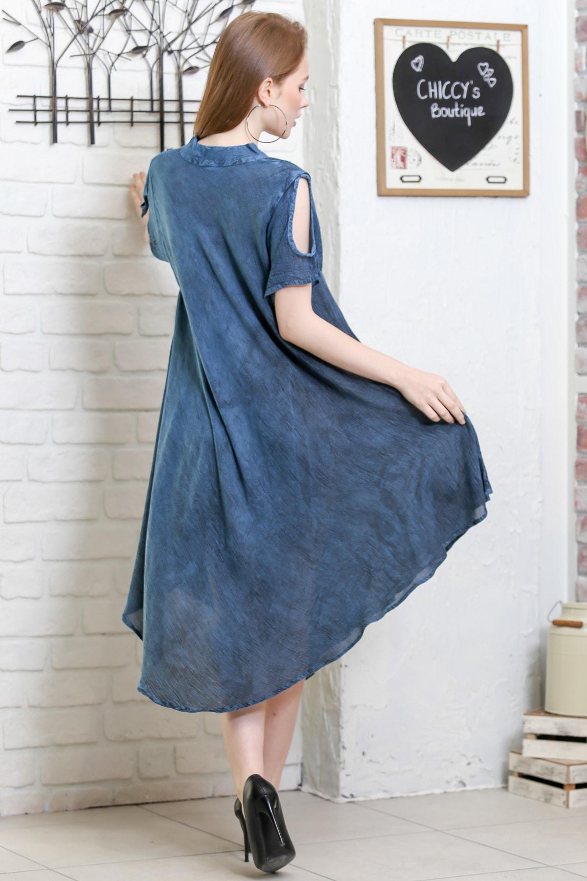 Chiccy Kadın Petrol Mavisi Batik Desenli Kısa Kol Dik Yaka Salaş Dokuma Elbise M10160000EL95153 3