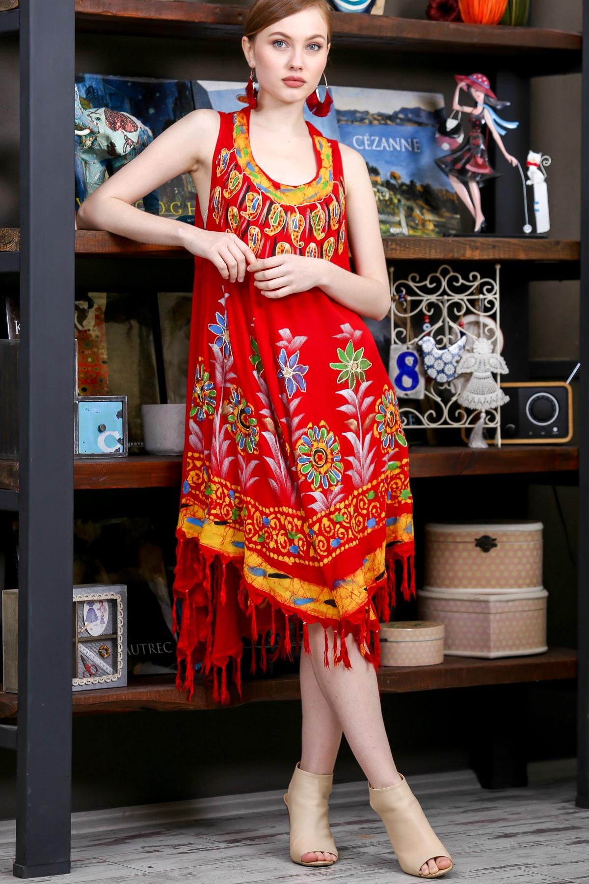 Chiccy Kadın Kiremit Batik Yakası Ve Etek Ucu Çiçek Desenli Salaş Dokuma Elbise M10160000EL95137 1