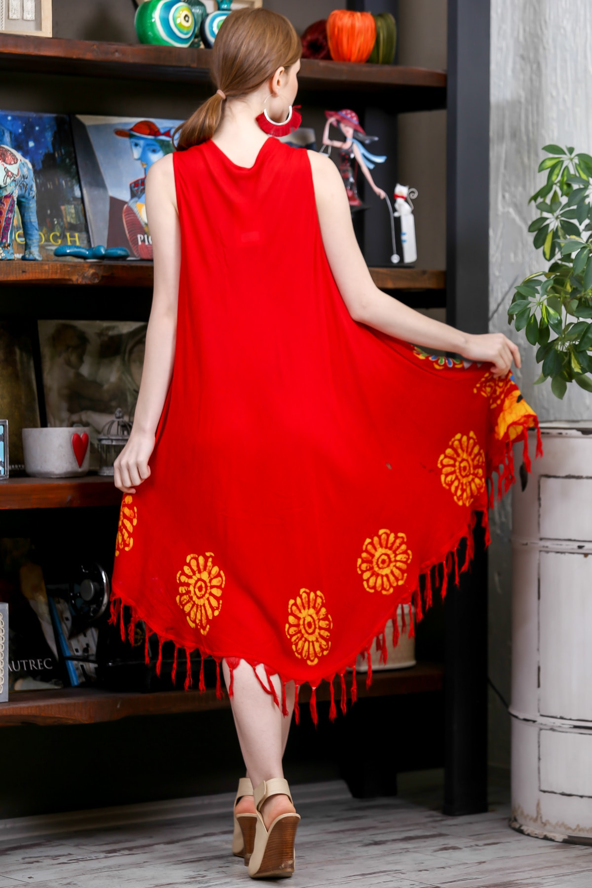 Chiccy Kadın Kiremit Batik Yakası Ve Etek Ucu Çiçek Desenli Salaş Dokuma Elbise M10160000EL95137 3