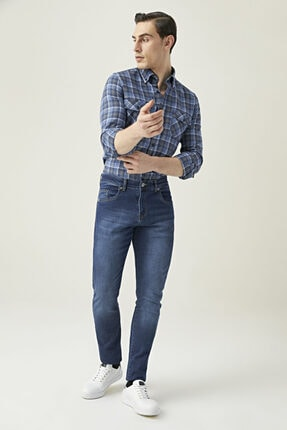 D'S Damat Erkek Slim Fit Mavi Renk Pantolon 1