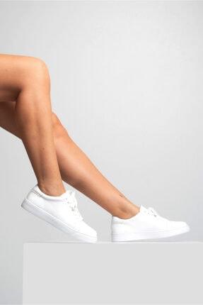 GRADA Kadın Sade Beyaz Hakiki Deri Hafif Taban Sneaker Ayakkabı 0