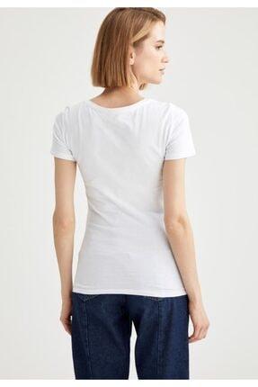 Defacto Kadın Beyaz Basic Kısa Kollu Tişört 3