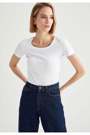 Defacto Kadın Beyaz Basic Kısa Kollu Tişört 4