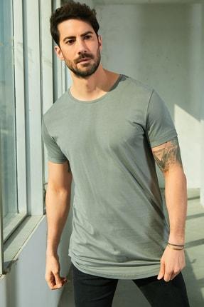 Sateen Men Erkek Gri Bisiklet Yaka T-Shirt 0