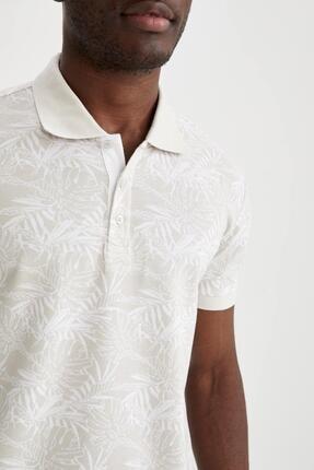 Defacto Slim Fit Polo Yaka Floral Desenli Kısa Kollu Tişört 2