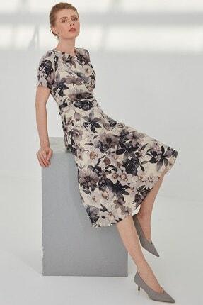 Journey Kadın Siyah Çiçekli Pileli Kemer Burgu Detaylı Elbise 2