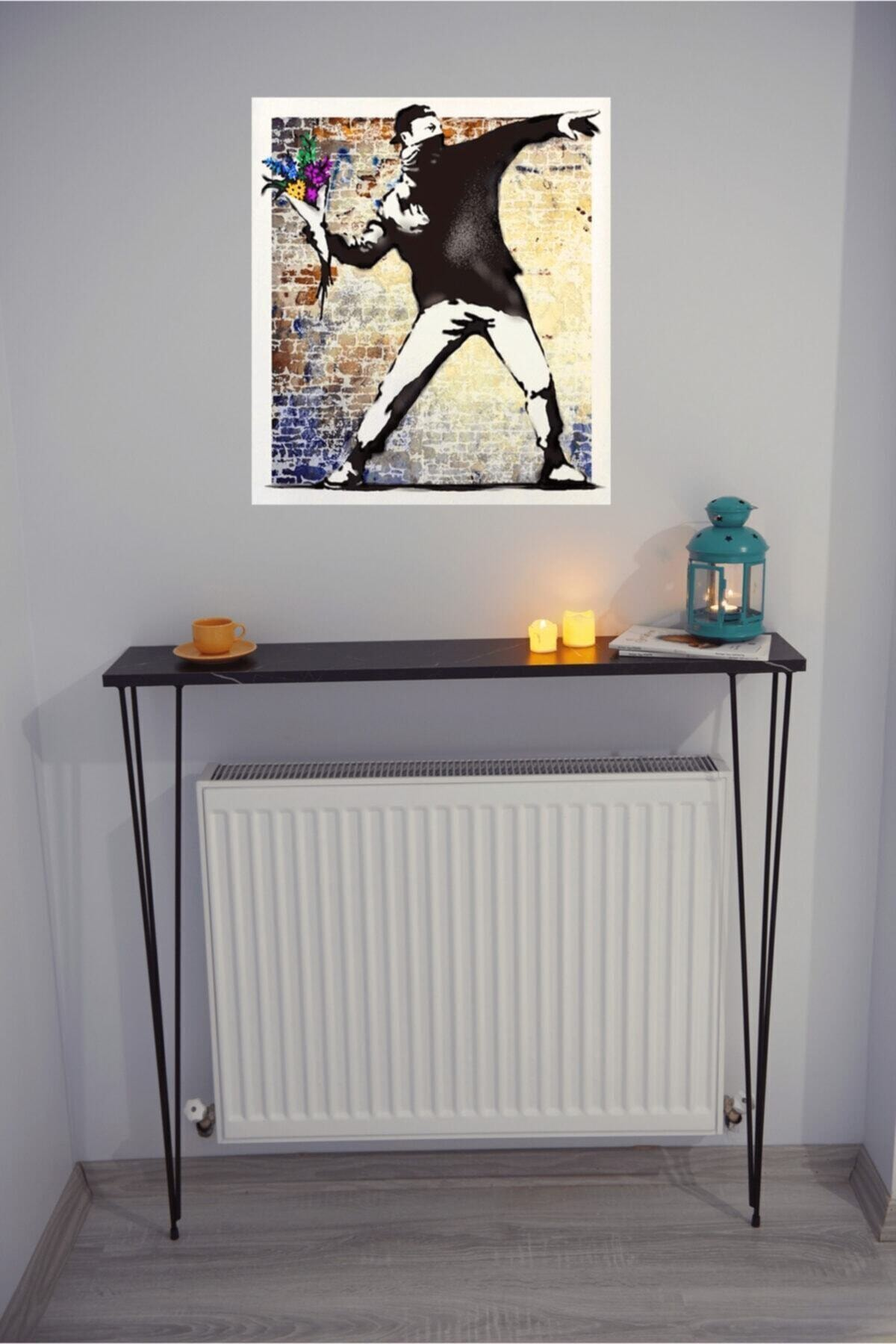 Petek Üstü Ayaklı Raf Dresuar Mermer Desen/mat Siyah 100x90x18 Cm