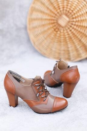 PUNTO Kadın Vizon Bağcıklı Topuklu Ayakkabı 1