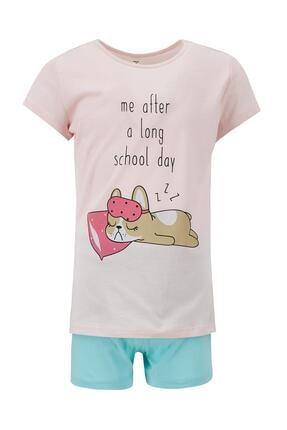 Defacto Kız Çocuk Turkuaz Kedi Baskılı Kısa Kol Pijama Takımı 0