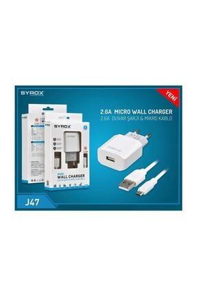 Syrox (Yeni) J47 Micro Usb Girişli 2.6 Amper Hızlı Şarj Aleti 2