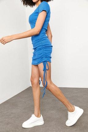 Xena Kadın Mavi Yanları Büzgülü Kaşkorse Elbise 1YZK6-11717-12 4