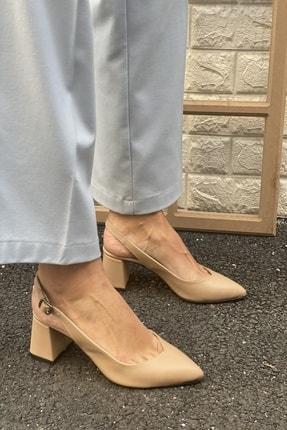 İnan Ayakkabı Kadın Bej Sivri Burun Arkası Açık Topuklu Ayakkabı 2