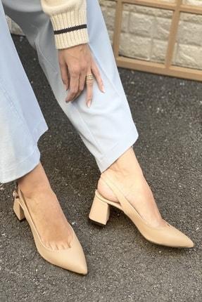 İnan Ayakkabı Kadın Bej Sivri Burun Arkası Açık Topuklu Ayakkabı 3