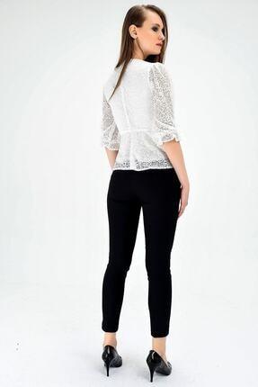 Jument Kadın Normal Bel Cepli Bilek Boy Ofis Likralı Kumaş Pantolon-siyah 1