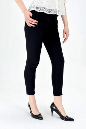 Jument Kadın Normal Bel Cepli Bilek Boy Ofis Likralı Kumaş Pantolon-siyah 4