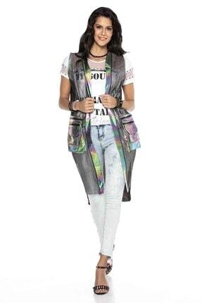 Cipo&Baxx Kadın Gümüş Renk Transparan Detaylı Uzun Yelek 4