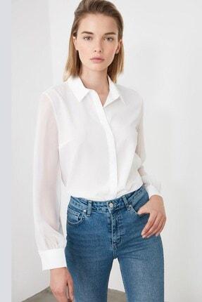Madmext Kadın Beyaz Saten Gömlek Mg1034 1