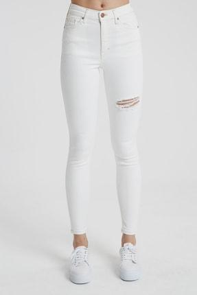 CROSS JEANS Judy Beyaz Yüksek Bel Kesikli Skinny Fit Jean Pantolon 1