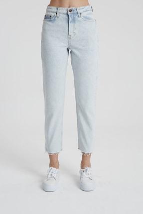 CROSS JEANS Elıza Cropped Ağartmalı Indigo Paçası Kesikli Straight Fit Jean Pantolon 1