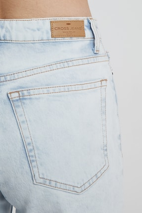 CROSS JEANS Elıza Cropped Ağartmalı Indigo Paçası Kesikli Straight Fit Jean Pantolon 4