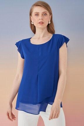 Journey Kadın Lacivert Volanlı Bluz 0