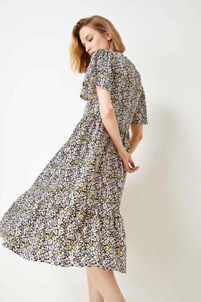 Defacto Kadın Bej Volan Detaylı Kelebek Kollu Elbise 0