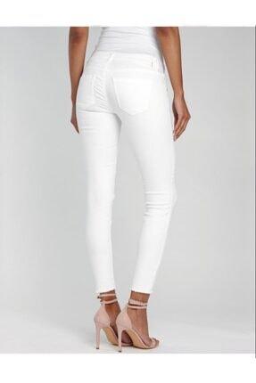 Kadın Beyaz Jean Pantolon dar paça jean pantolon