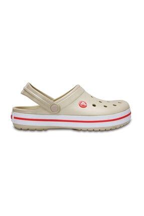 Crocs Bej Unisex Crocband Kenarı Kırmızı Beyaz Çizgili Terlik 0