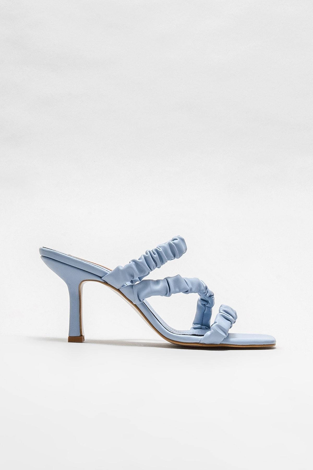 Kadın  Mavi  Topuklu Terlik