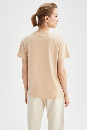Defacto Kadın Bej Relax Fit Basic Tişört 3
