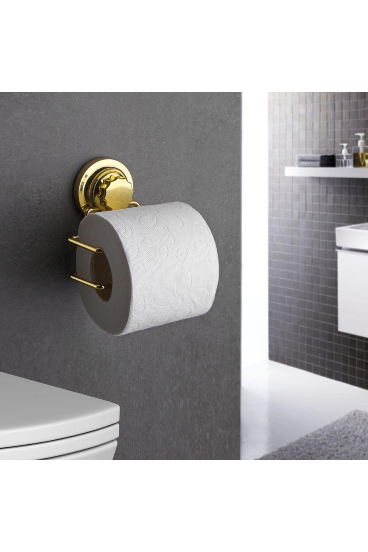 Gold Serisi Lux Wc Kağıtlık 3 Fonksiyonlu - Ister Vakumla, Ister Yapıştır, Ister Vidala