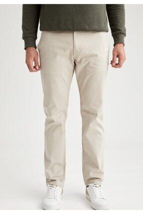 Defacto Erkek Bej Regular Fit Basic Pamuklu Chino Pantolon 1