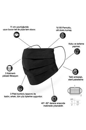 Mutlu Maske Konfor Serisi 3 Katlı Burun Telli Unisex Pamuklu Kumaş Siyah Renkli Yıkanabilir Maske 3'lü Paket 1