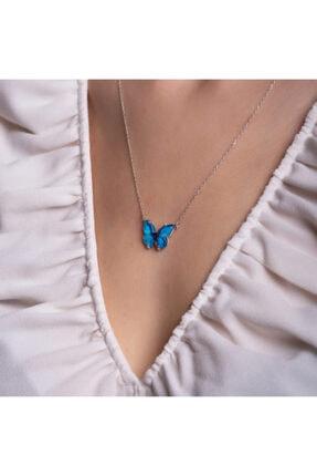 LAVERANZA 925 Ayar Gümüş Mavi Renk Kelebek Kolye 1