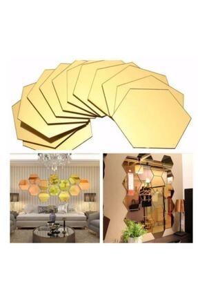 FERMAN HEDİYELİK Bal Peteği Gold Dekoratif Altıgen 12x Süs Akrilik Ayna 11x12,5cm Antre Duvar Pleksi Yapışkan Bantlı 2
