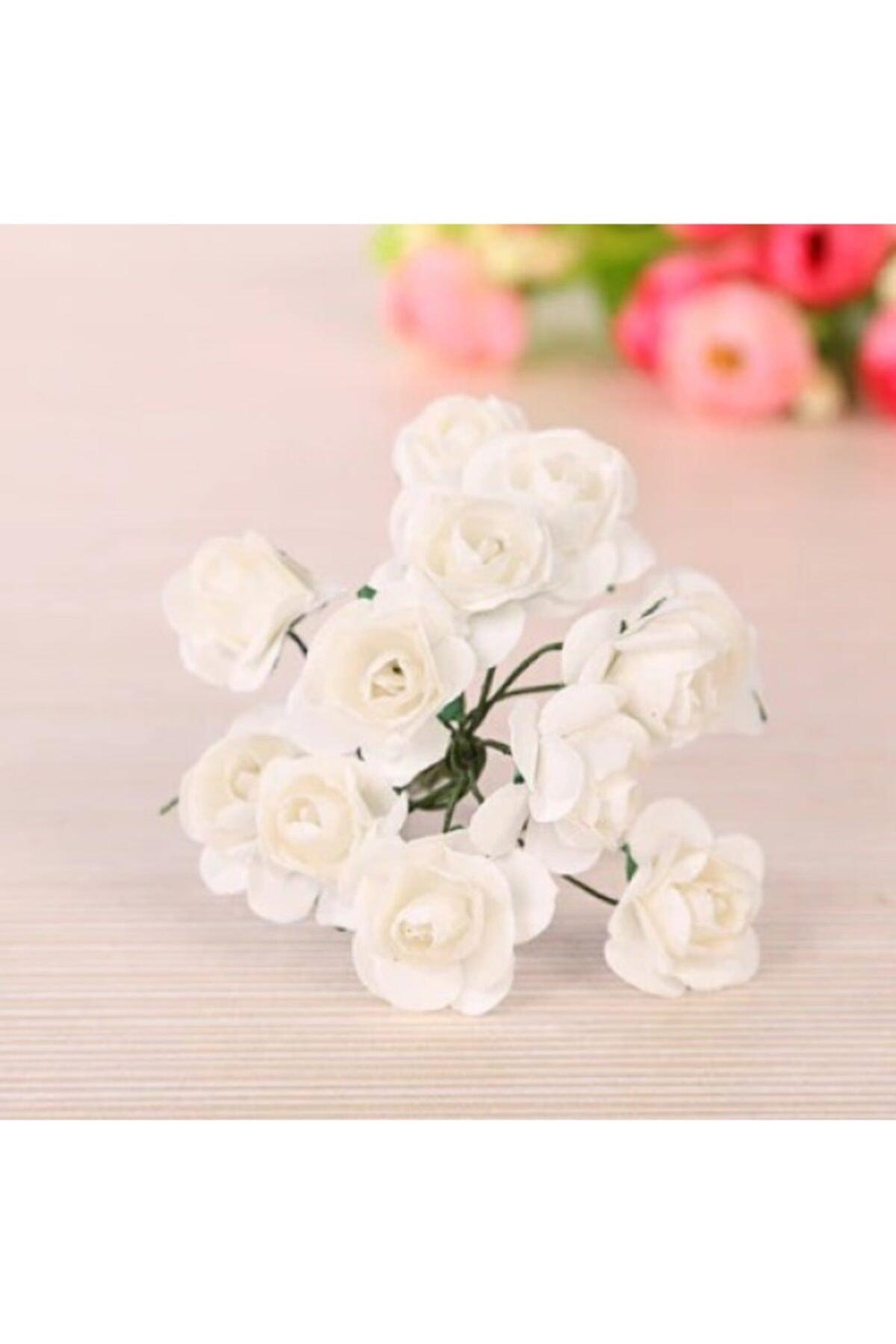 Beyaz Kağıt Gül 144lü Kağıt Güller El Işi Süsleme Hobi Dekorasyon Tasarım Yapay Çiçek Aranjman