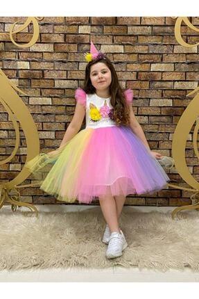 marvelous Kız Çocuk Renkli Doğum Günü Unicorn Elbisesi 2