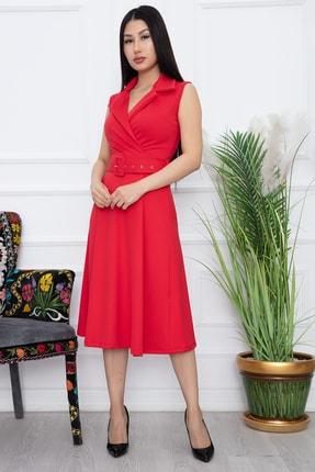 PULLIMM Kadın Kırmızı Klasik Yaka Kolsuz Elbise 2508 4