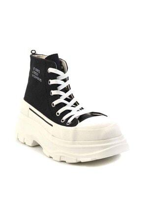 Bambi Siyah Beyaz Kadın Sneaker K01530120018 2