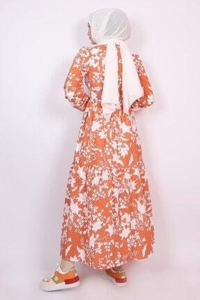 ENDERON Beyaz Çiçekli Kloş Tesettür Mevsimlik Elbise 3