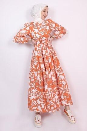 ENDERON Beyaz Çiçekli Kloş Tesettür Mevsimlik Elbise 4