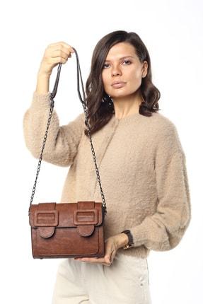 Madamra Aynı Butikte 2. Ürün 1 TL Taba Süet Kadın Kemerli Kapaklı Kutu Omuz Çantası 4