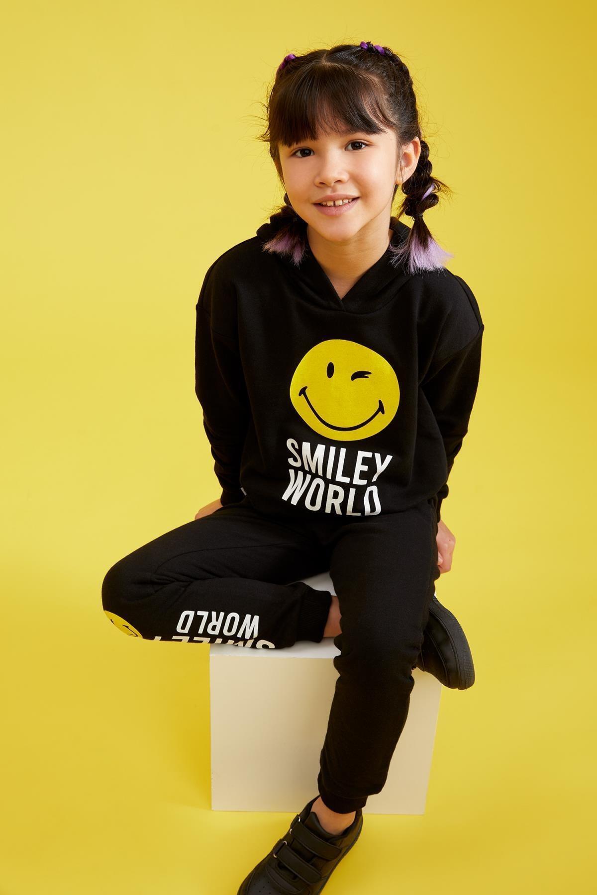 Kız Çocuk Smileyworld Lisanslı Kapüşonlu Sweatshirt