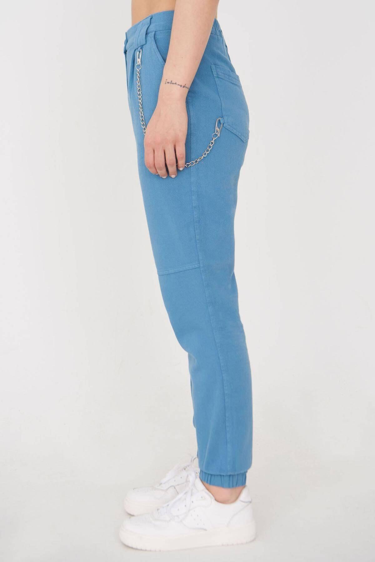 Addax Kadın Mavi Zincir Detaylı Pantolon Pn01-0073 - S11 Adx-0000024102 2