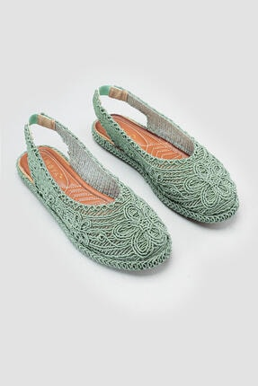 Limoya Yeşil Örgü Detaylı Triko Sandalet 1