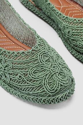 Limoya Yeşil Örgü Detaylı Triko Sandalet 2