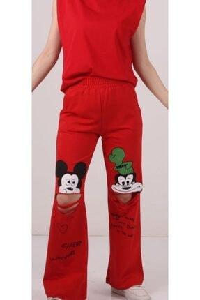 SİS GİYİM Kadın Kırmızı Mickey Baskılı Eşorfman Altı 0