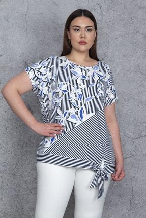 Şans Kadın Mavi Düşük Kol Bel Yan Bağlamalı Çizgi Ve Çiçek Baskılı Viskon Bluz 65N23844 2